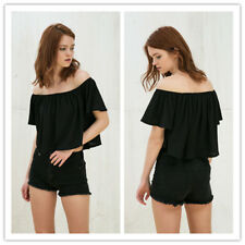Women's Off Shoulder Bell Sleeve Loose Fit Casual Solid Crop Top Shirt Blouse