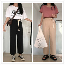 Women's Belted High Waist Ankle Length Wide Leg Crop Lounge Pants With Pockets