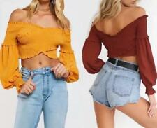 Women Elastic Boat Neck Pleated Long Sleeve Wrapped Strapless Solid Crop Top