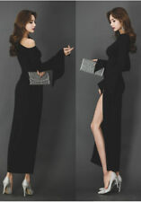 Women's One Shoulder Slit Long Sleeve Tunic Evening Ball Gown Split Maxi Dress