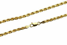 "Brand New 14k Yellow Gold 3mm Rope Chain Twist Link Necklace Size 16""-30"""