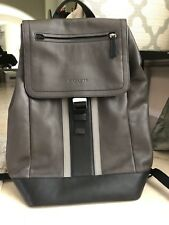 Coach Varsity Striped Leather Backpack Men-Heritage Collection NO RESERVE!