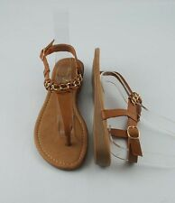 Cognac Tan Summer Chic Style Woven Gold Chain T Strap  Flat Wedge Sandals