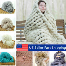 3 Size Luxury Handmade Knitted Blanket Chunky Warm Wool Throw Bed Soft Bedspread