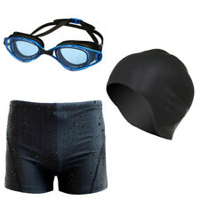 Men Swimming Set Swim Wear Trunks Goggles Cap Shorts Sharkskin Pants Underwear
