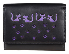 Mala Leather Medium Flapover Cat Pattern Purse Style Poppy 317055 Colour Various