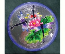 Embossed Glass DRAGONFLY Birdbath Hanging or Staked by Songbird Essentials