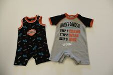 Harley Davidson  Newborn Infant Baby & Kid 2 Pieces of Rompers. 1 Black 1 Gray