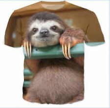 2018 Cute Sloth Funny 3D Print Casual Graphic Tee Short Sleeve Leisure T-Shirt