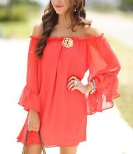 Women Thin Long Flare Sleeve Elastic Boat Neck Chiffon Mini Loose Solid Dress