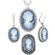 Jewelry Sets Lady Queen Cameo Vintage Necklace Earrings Ring For Women Flower