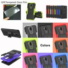 Hybrid ARMOR HEAVY DUTY SHOCKPROOF KICKSTAND Rubber Back Hard Case For LG Phones