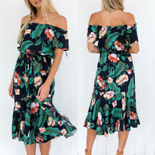Womens Off Shoulder Floral Midi Dress Ladies Summer Casual Party Beach Sundress
