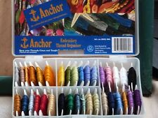 35 Full/Part Used Anchor Bobbins Cross Stitch/Embroidery Threads + Storage Box