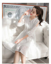 Women's Lace Crochet V Neck Cold Shoulder Lantern Sleeve Tunic Swing Midi Dress