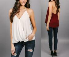 Women Backless V Neckline Solid Loose Chiffon Spaghetti Strap Thin Top Shirt
