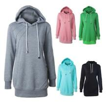 Women's Cozy Solid Drawstring Hoodie Long Sleeve Basic Long Sweats Top 5 Color