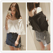 Women's Slash V Neck Lace Strap Bell Sleeve Loose Fit Tee T-Shirt Top Blouse