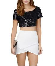 Women's Sexy Glittery Sequinned Scoop Neck Short Sleeve Crop Shirt Top 4 Colors