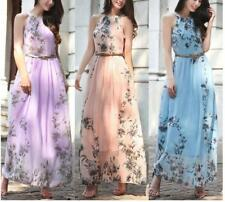 Women's Floral Halter Sleeveless Back Tie Belted Pleated Swing Beach Maxi Dress