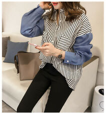 Women's Lapel Long Sleeve Stitching Striped Casual Button Down Shirt Top Blouse