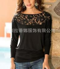Women's O Neck Sheer Crochet Spliced Banded Runched Hem Long Sleeve T-shirt Top