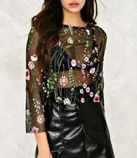 Women Floral Embroidered See Through 3/4 Sleeve Crew Neck Mesh Shirt Blouse