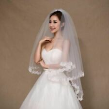 Stock  White Ivory Short Bridal Veil with Comb Applique Edge Wedding Veil Access