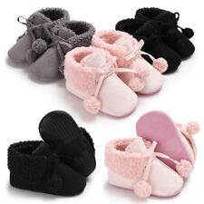Soft Sole Baby Shoes Boy Girl Infant Toddler Fleece Pompon Casual Booties Winter