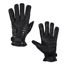 Men Motorcycle Genuine Leather Gloves Studded Rider Biker Riding Racing Black