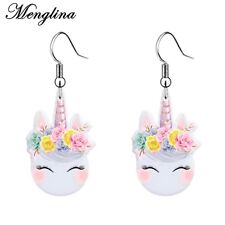 Fashion Kawaii Unicorn Dangle Earrings For Girl Flat Back Resin Acrylic Jewelry