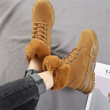 Women Winter Fur Lined Suede Warm Boots Casual Furry Ankle Plush Shoes Outdoor