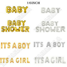 """16""""Foil Balloons Letter 'BABY SHOWER''ITS A GILR''ITS A BOY' Banner  Gold/Silver"""