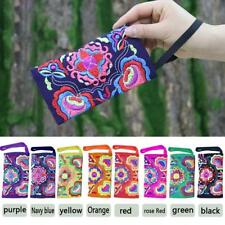 Women's Ethnic Floral Embroidery Clutch Bag Canvas Handbag Coin Purse Handbag