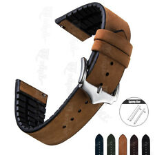 Genuine Leather Rubber Wrist Watch Band For Samsung Galaxy Watch 42 46mm Strap