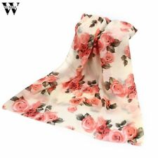 2017 New Summer Rose Womens Voile Long Scarves Beach Chiffon Shawl Scarf Amazing