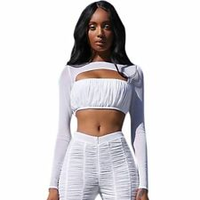 Anself Sexy Women Ruched Cropped Top Hollow Out Mesh Splice Long Sleeves Sexy