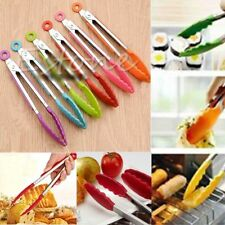 Silicone Kitchen Tongs Cooking Salad Serving Bbq Pincers Stainless Steel Handle