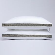 Puredown® Taupe Leaf Down Feather Pillows, Gusseted Bed Pillows, Set of  2