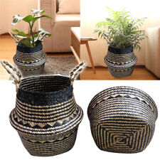 Seagrass Belly Storage Basket Plant Pot Holder Foldable Laundry Bag Home Decor