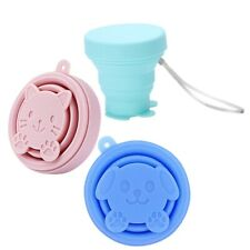 Portable Silicone Cartoon Cat Telescopic Drinking Collapsible Folding Cup T W5B5