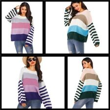 Blouse Striped Knit Shirt Women's Sweater Pullover Tops Long Sleeve Casual