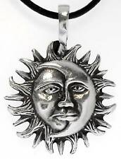 SUN MOON Silver Pewter Pendant Leather Necklace Surfer