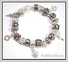 EUROPEAN STYLE CHARM BEAD BRACELET mixed silver/pink
