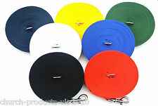 100 ft Long Dog TRAINING Lead  LARGE in Various Colours