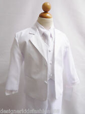 NEW INFANT TODDLER TEEN BOY  WHITE COMMUNION FORMAL SUIT TUXEDO SIZE 6 MO - 20