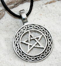 PAGAN PENTAGRAM WICCAN Pewter Pendant Leather Necklace