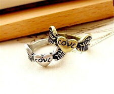 Vintage style love heart and angel wings ring Size M