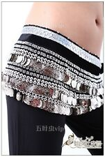 Belly Dance Hip Scarf 338 Gold Silver Coins 22 Colours