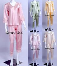 WOMENS GIRLS 100% SILK SATIN SLEEPWEAR NIGHTWEAR PYJAMAS SET NIGHTDRESS NIGHTIES